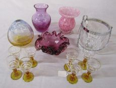 Selection of glass ware inc vases, ice bucket and Art Deco liqueur glasses