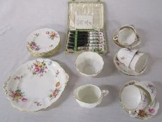 Royal Crown Derby 'Derby Posies' part tea service consisting of cake plate, 6 cups, saucers and