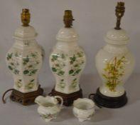 Pair & a single ceramic lamps & an Aynsley miniature jug & bowl