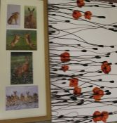 Large canvas print of poppies and a framed set of hare prints after Robert Fuller