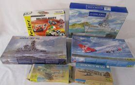 6 Heller model kits inc Jeanne D'Arc, Boeing 747 Virgin Atlantic, Racing bikes and Admiral Graf