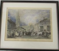 Framed engraving of Louth drawn by J M Turner and engraved by W Radclyffe 35.5 cm x 29.5 cm (size