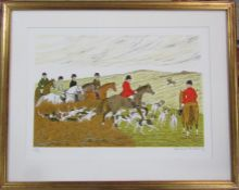 Framed Vincent Haddelsey (1934-2010) limited edition lithographic print 178/200 horses and hounds