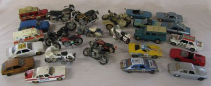 Quantity of play worn die cast and plastic vehicles and motorcycles