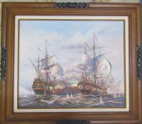 Framed oil on canvas of 2 galleons in battle by J Harvey 79 cm x 69 cm (size including frame)
