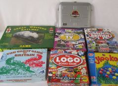 Various board games inc Logo, Hooked and Great Western Railway game together with Jurassic Park