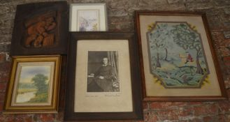 Wood cut panel, framed Victorian photograph of Reverend William Price-Jones of Cleethorpes, needle