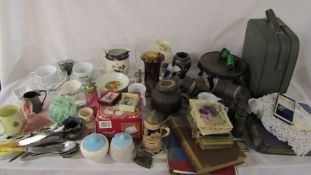 Large quantity of ceramics inc Doulton Lambeth, glassware, vintage postcards, binoculars, vanity