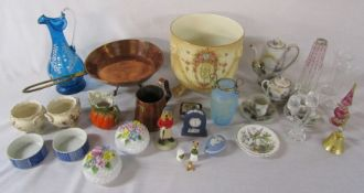 Various ceramics inc Wedgwood and Crown Devon, glassware and vintage copper pan and pint measure