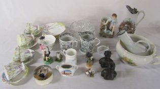 Various ceramics inc part tea service, Farmers Arms tankard and jug, wooden heads & cut glass bowl