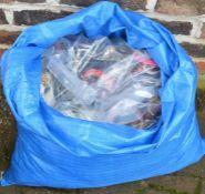 Large blue sack of costume jewellery