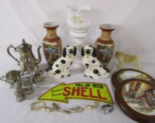 Various ceramics in modern Staffordshire dogs, collectors plates & pair of Japanese vases, metal
