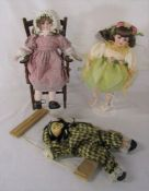 2 dolls inc Leonardo Collection, miniature chair and puppet