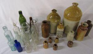 Various stoneware and glass bottles inc C W Rysdale Boston