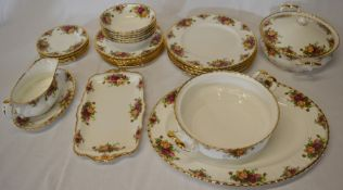 Approximately 30 pieces of Royal Albert Old Country Roses pattern tableware (tureen missing lid &