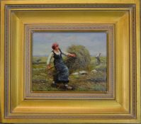 Modern oil on board of a Dutch woman working in a field (size including frame 39cm x 44cm)