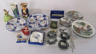 Assorted ceramics and glassware inc small Royal Doulton 'Top o the Hill' figurine and paperweights