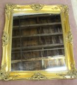 "Large gilt framed mirror (damaged) and a framed print ""Yacht's of the America's Cup"""