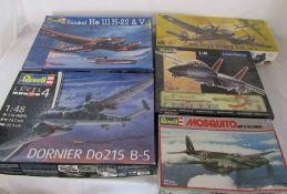5 Revell model kits inc Beaufighter, Mosquito, F-14D tomcat & Dornier Do215 B-5