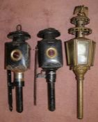 Pair of coach lamps and one other