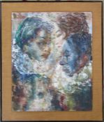 WITHDRAWN - PLEASE DO NOT BID - Large framed abstract oil painting of 3 portraits by John Uht 53