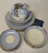 Doulton blue, white and gilt 4 place setting