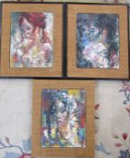WITHDRAWN - PLEASE DO NOT BID - 3 framed abstract portrait oil paintings of women by John Uht