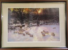 Large framed print 'The Shortening Winter's Day' by Joseph Farquharson RA 101 cm x 74 cm (size