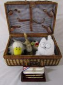 Picnic basket containing soft toys and commemorative Pentel 1984 Olympics pen and pencil set