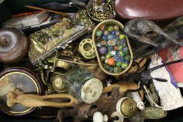 Selection of old marbles, brassware, Carl Zeiss Jena binoculars (10x50) etc.