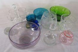 Assorted glassware inc decanters, coloured bowls etc
