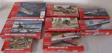 Selection of Airfix model kits inc 17 pounder anti tank gun and crew, Boeing 707, Scammell tank
