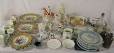 2 boxes of assorted ceramics inc commemorative ware, Royal Crown Derby, Doulton Lambeth,