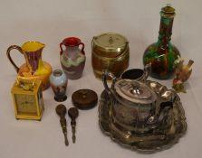 Whieldon ware style lidded vase (damage to inner rim of lid), Britannia plate tea set, modern
