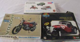 3 die cast model kits - Honda Dream CB750, Jaguar SS 100 and 20th Century Automotives