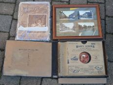 4 framed old Lincolnshire postcards, sheet music & a folder containing old 78 records