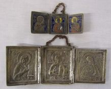 2 Russian style triptych icons 10 cm x 4 cm and 19 cm x 7.5 cm