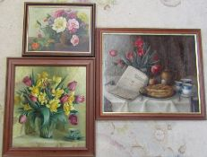 3 framed still life oil paintings by Elsie Lamle 69 cm x 59 cm, 56 cm x 60 cm & 47 cm x 36 cm (