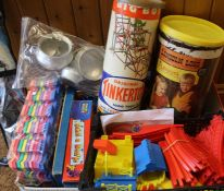 Selection of children's board games, Playskool Lincoln Logs, Original Tinkertoy, child's Asian