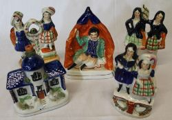 3 nineteenth century Staffordshire figure groups, Shakespeare & pastille burner cottage
