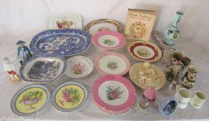 Various ceramics and glassware inc Mdina, Noritaki, Moira and Worcester