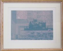 Framed Pamela Guille A.R.C.A limited edition modernist screen print 9/16 entitled 'Night Messages'