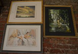2 framed nude/semi nude pictures inc an acrylic painting signed D Weston & a skyscape print signed