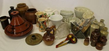 Selection of ceramic jelly moulds, tagine, ink bottles etc.