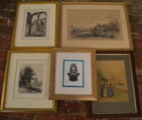 2 framed etchings, 19th century pencil & crayon landscape & an Oriental cut out of a mask