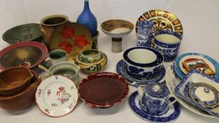 Selection of studio pottery, blue and white, hand-painted porcelain plate etc.