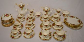 Royal Albert Old Country Roses pattern half tea & half coffee service along with sandwich plate, 6