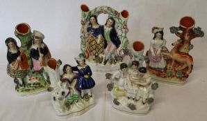 5 nineteenth century Staffordshire spill holders (1 head repaired)