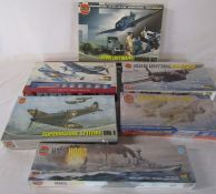 Selection of Airfix model kits inc Supermarine spitfire, Vickers Armstrong Wellington & HMS Hood