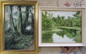 2 oil on board paintings - 'Three Beech Trees Risby' by Paul Staves '78 40 cm x 57 cm & a lake and